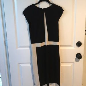 Black and white business casual or cocktail dress